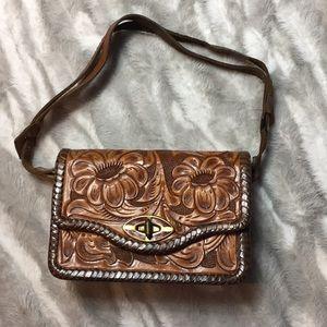 Vintage hand tooled leather Western BoHo purse